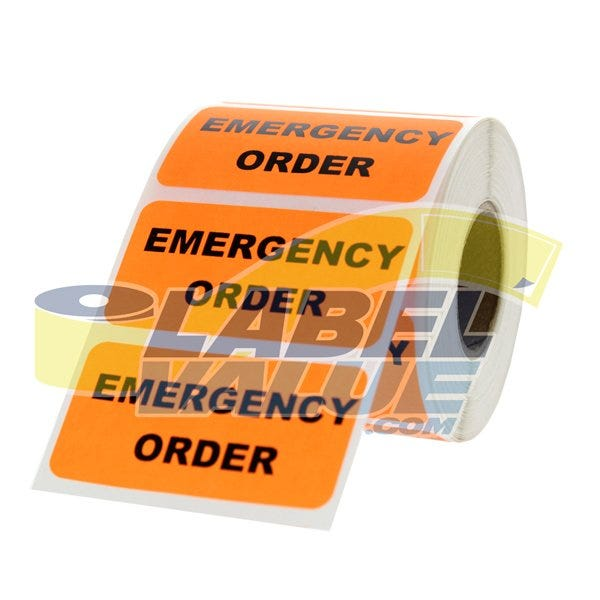 "Emergency Order Labels 2"" x 1"""