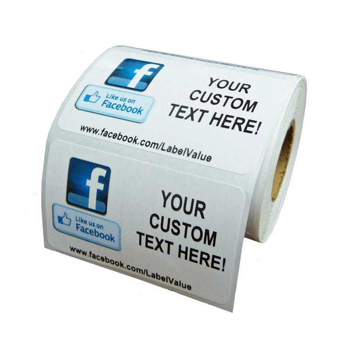 Like Us on Facebook Labels with Custom Text