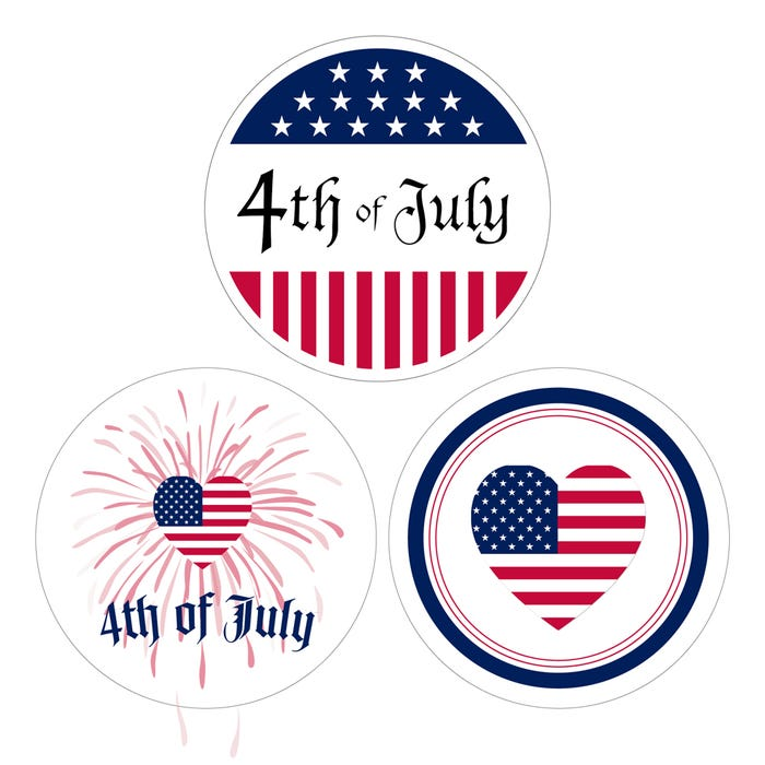 """4th of July Stickers 1.5"""" Labels"""