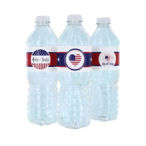 """4th of July Water Bottle Labels 1-3/4"""" x 8"""""""