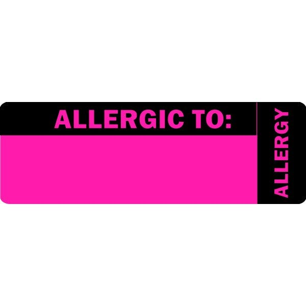 """Allergic To"" Pink Allergy Labels"