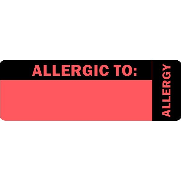 """Allergic To"" Red Allergy Labels"