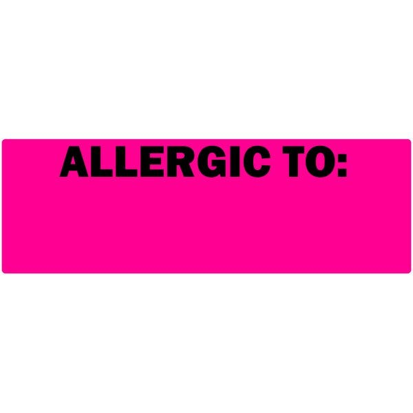 """Allergic To"" Fluorescent Pink Blank Allergy Labels"