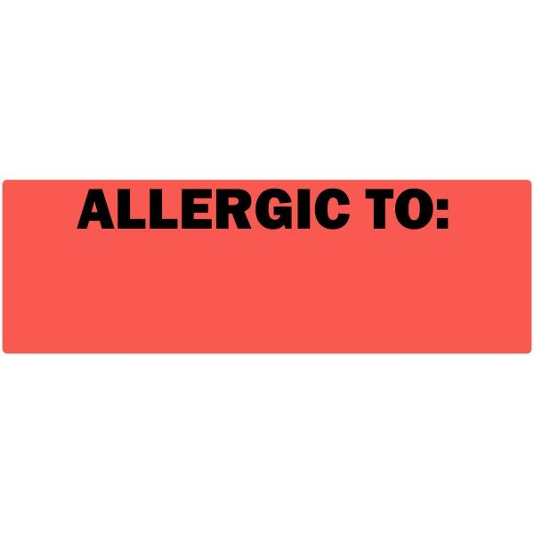"""Allergic To"" Fluorescent Red Allergy Labels"