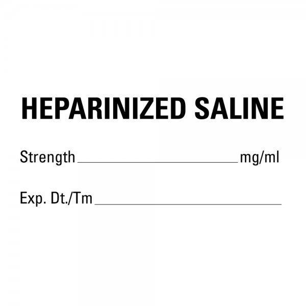 HEPARINIZED SALINE Medical Healthcare Labels