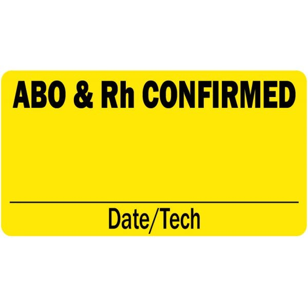 ABO and Rh Confirmed Medical Labels
