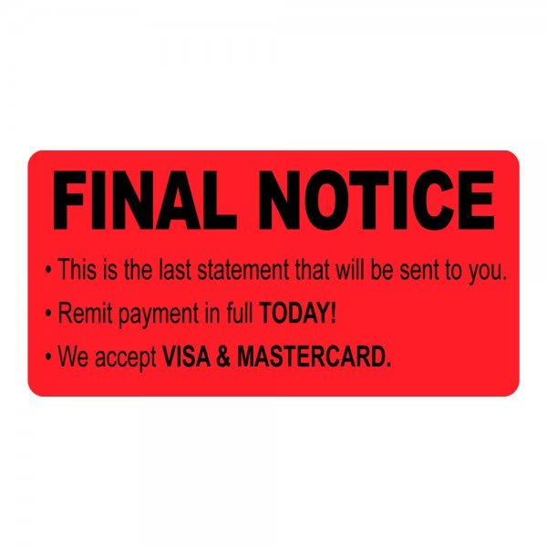 Final Notice Label Red
