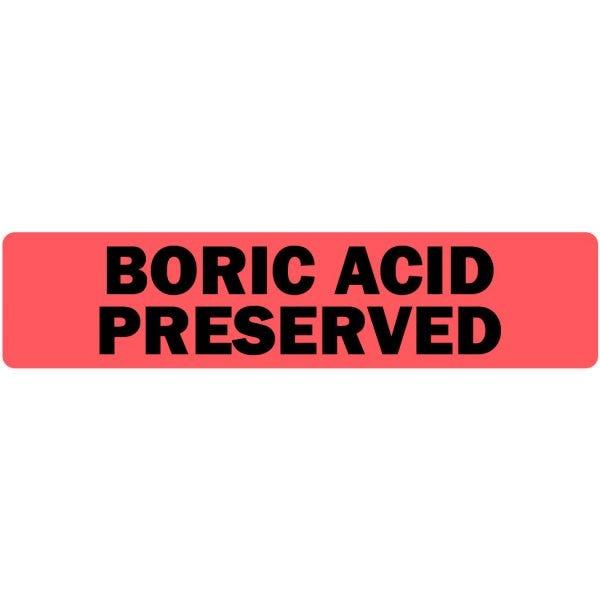 Boric Acid Preserved Medical Labels