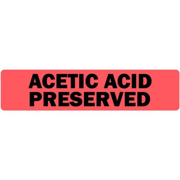 Acetic Acid Preserved Medical Labels