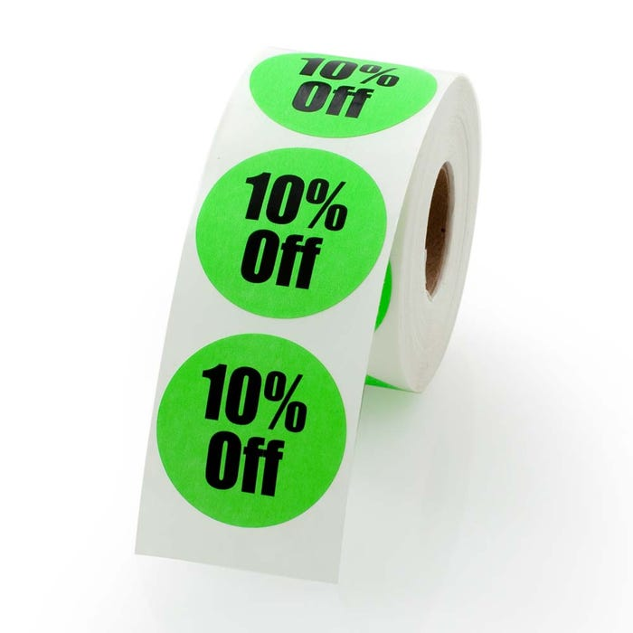 10 Percent Off Labels 1.5""