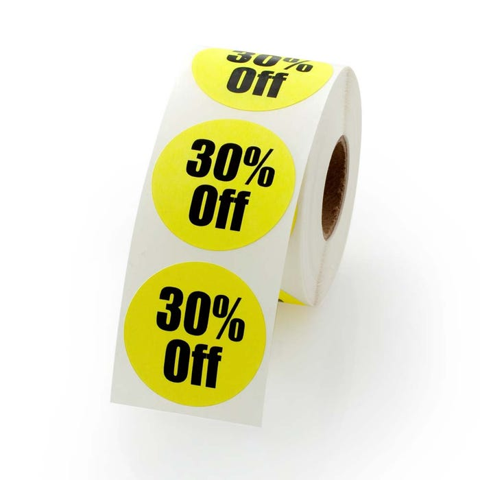 30 Percent Off Labels 1.5""