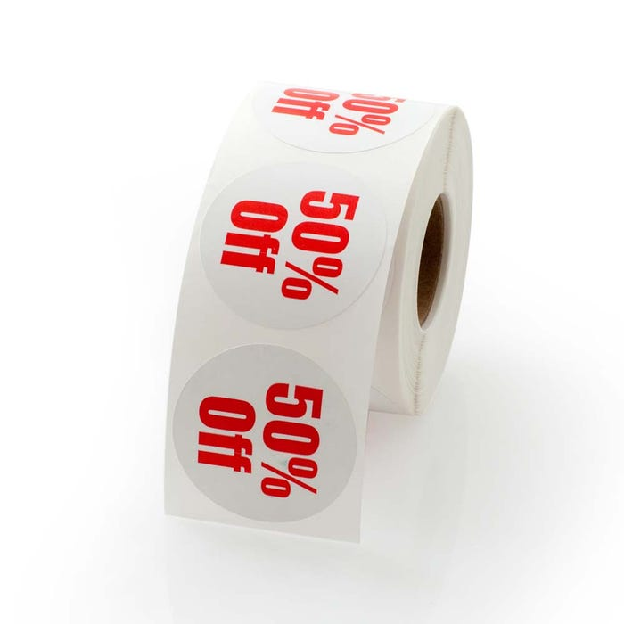 50 Percent Off Labels 1.5""
