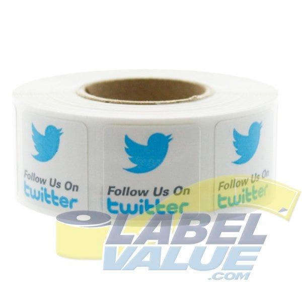 "Follow Us On Twitter Labels 3/4""x 3/4"""