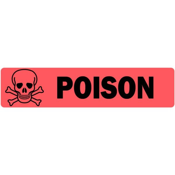 Poison with Cross Skull Image Veterinary Labels