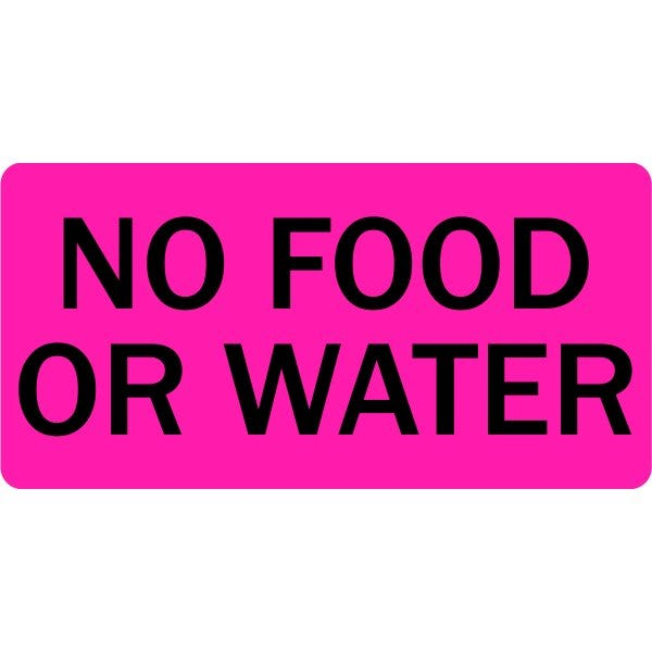 No Food or Water Veterinary Labels