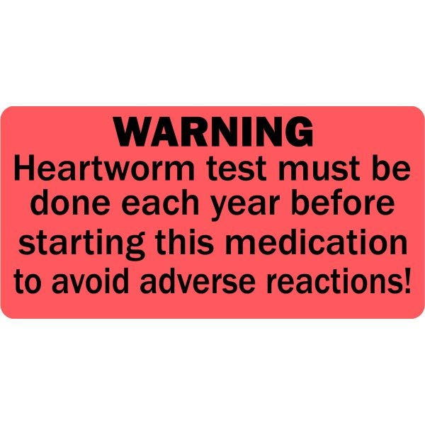 Heartworm Test Warning Veterinary Labels