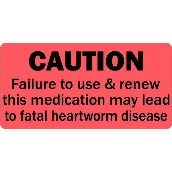 Caution Renew Heartworm Medication Veterinary Labels