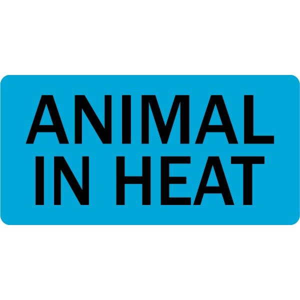 Animal in Heat Veterinary Labels