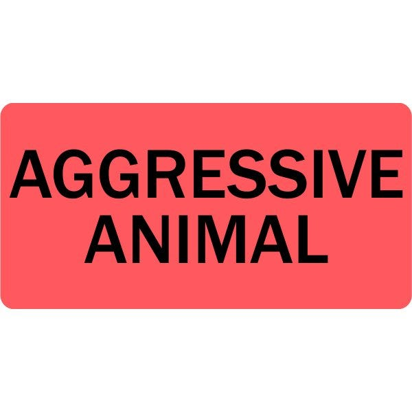 Aggressive Animal Veterinary Labels