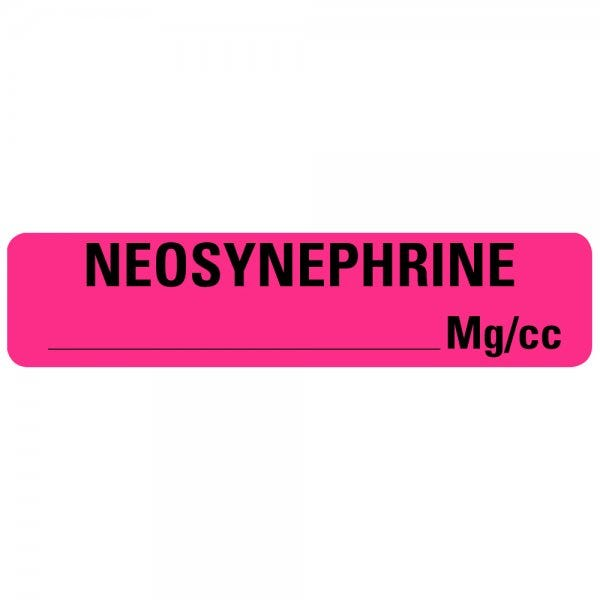NEOSYNEPHRINE MG/CC Drug Syringe Labels