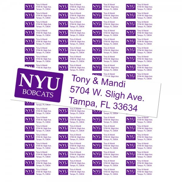 New York University Bobcats Custom Return Address Labels