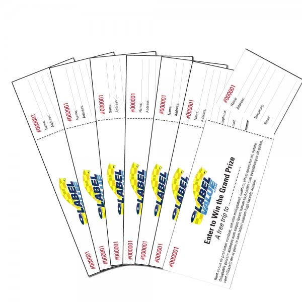 "Tickets with Tear-Away Stubs 1-3/4"" x 5-1/2"""