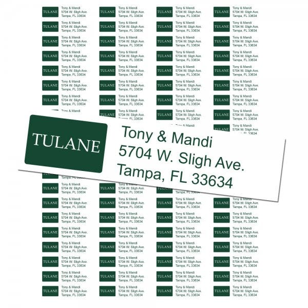 Tulane University Custom Return Address Labels