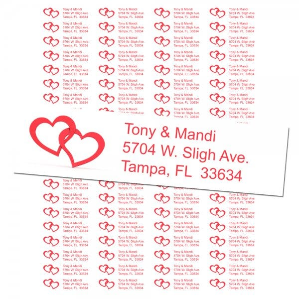 Two Red Hearts Return Address Labels