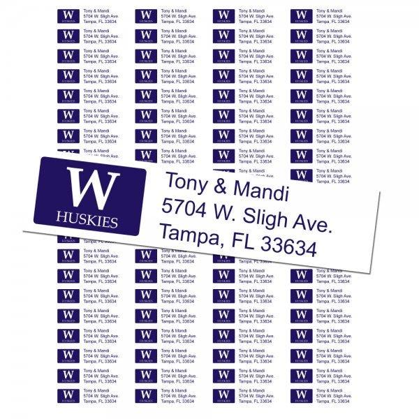 University of Washington Huskies Custom Return Address Labels