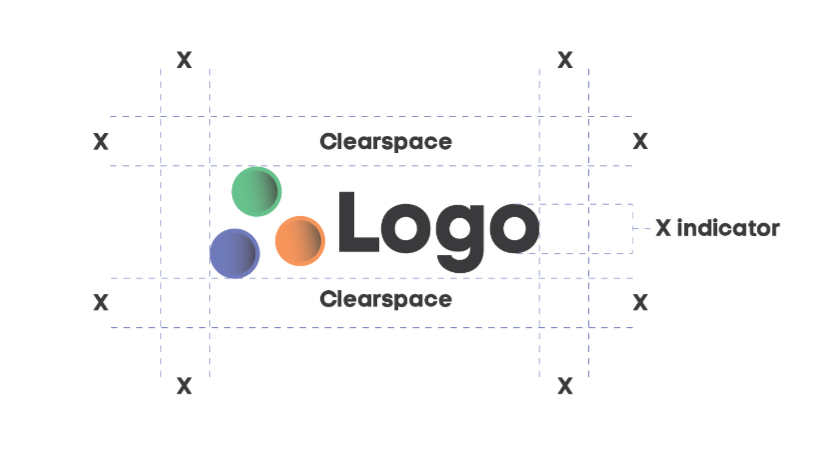 clearspace grid and x indicator