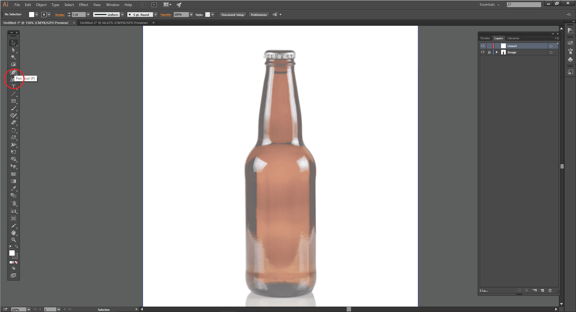 Select the Pen Tool in Adobe Illustrator
