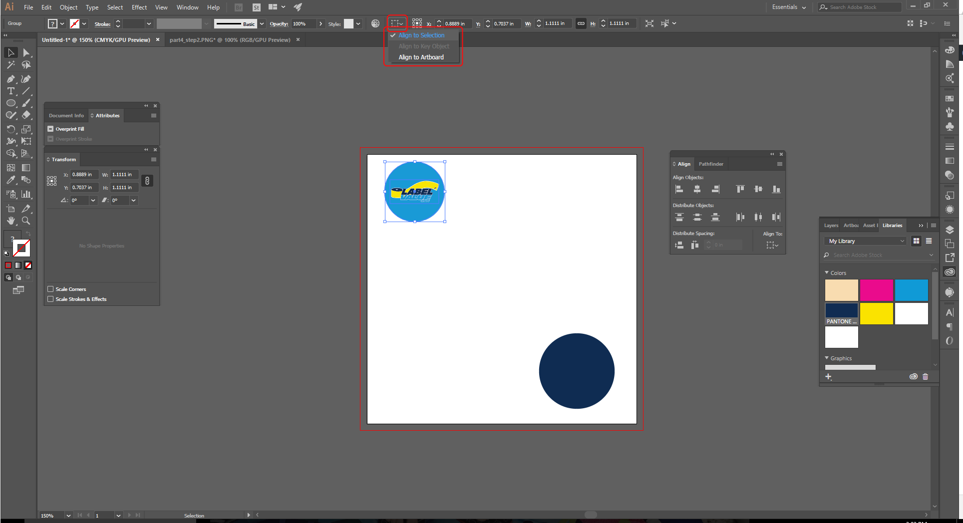 Align Tool Adobe Illustrator Step 2