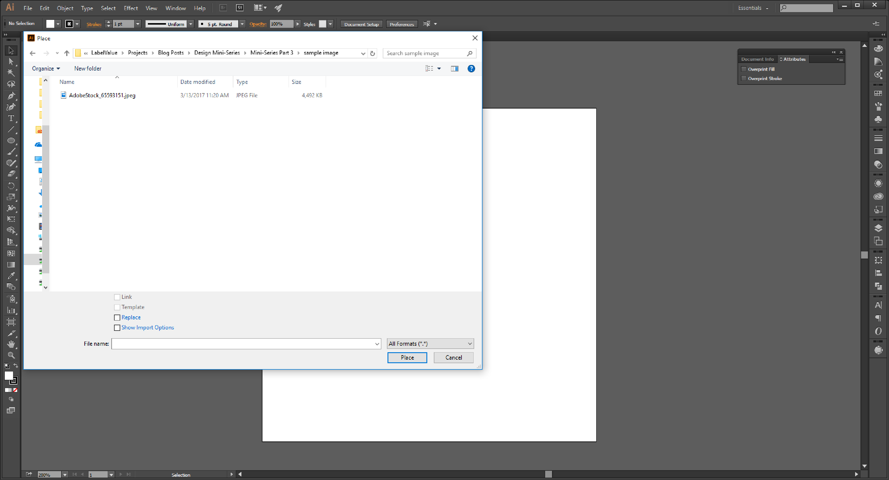 Linking Images in Illustrator Step 3