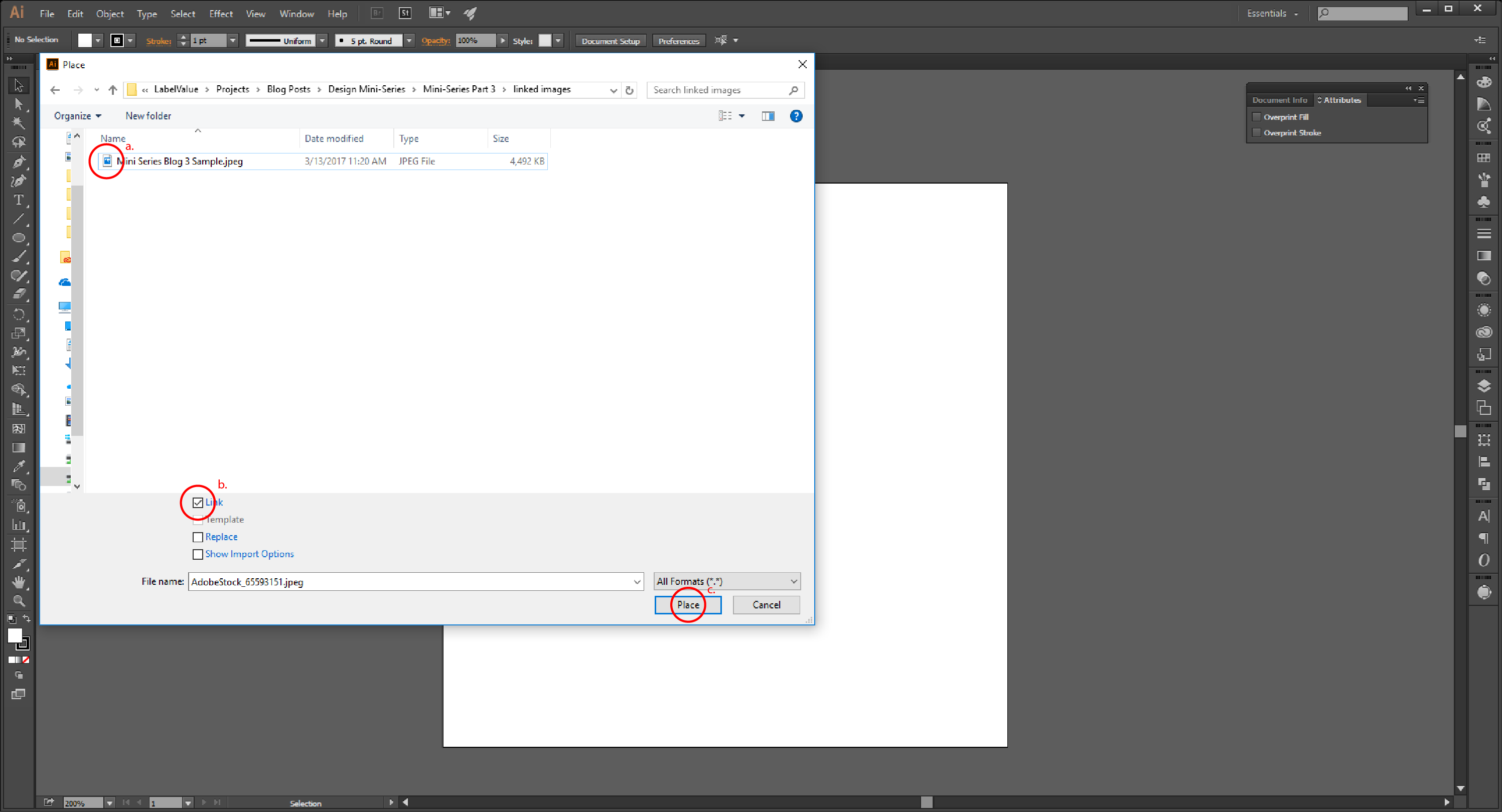 Linking Images in Illustrator Step 4