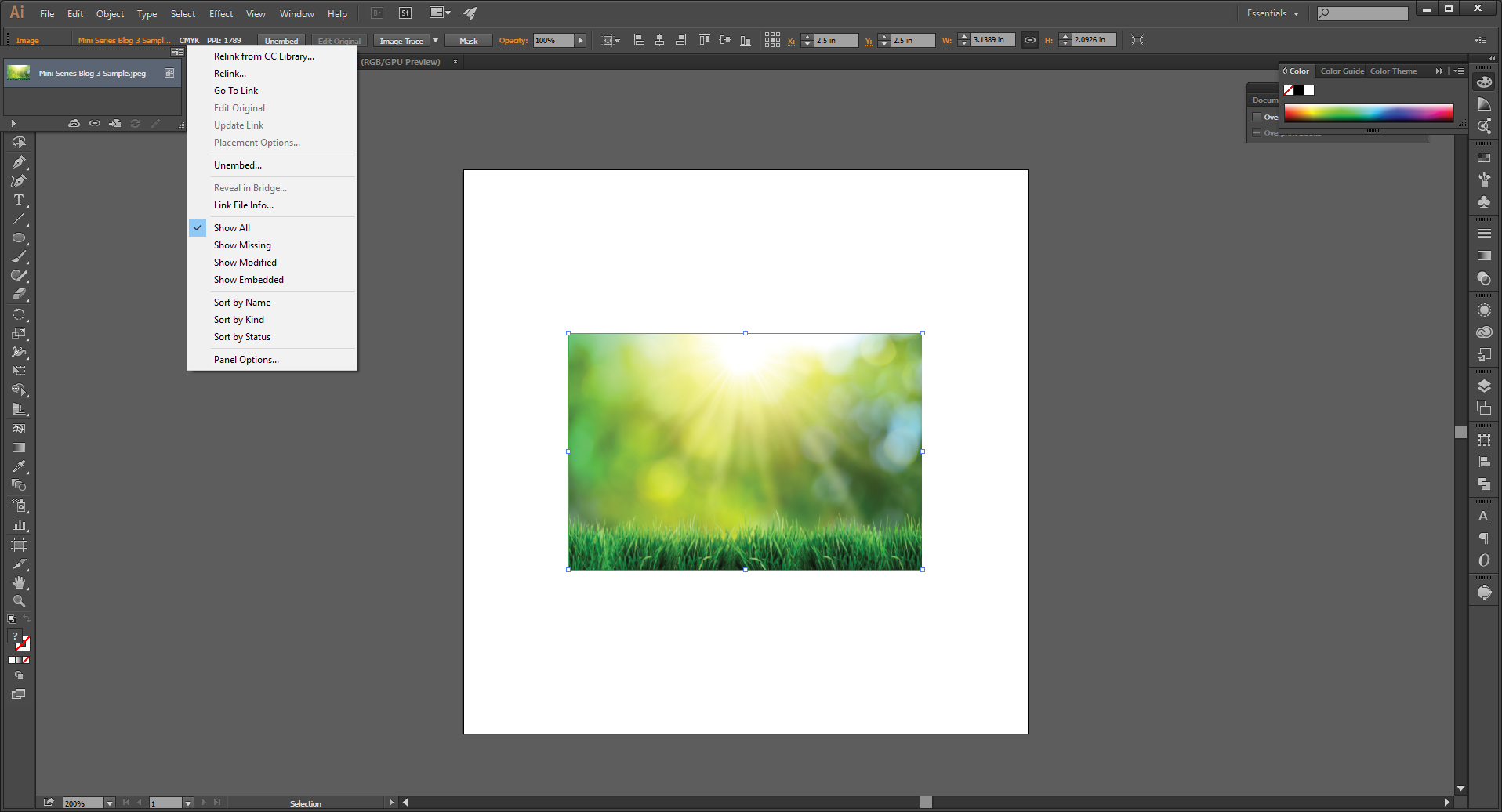 How to Embed an Image in Adobe Illustrator Step 6