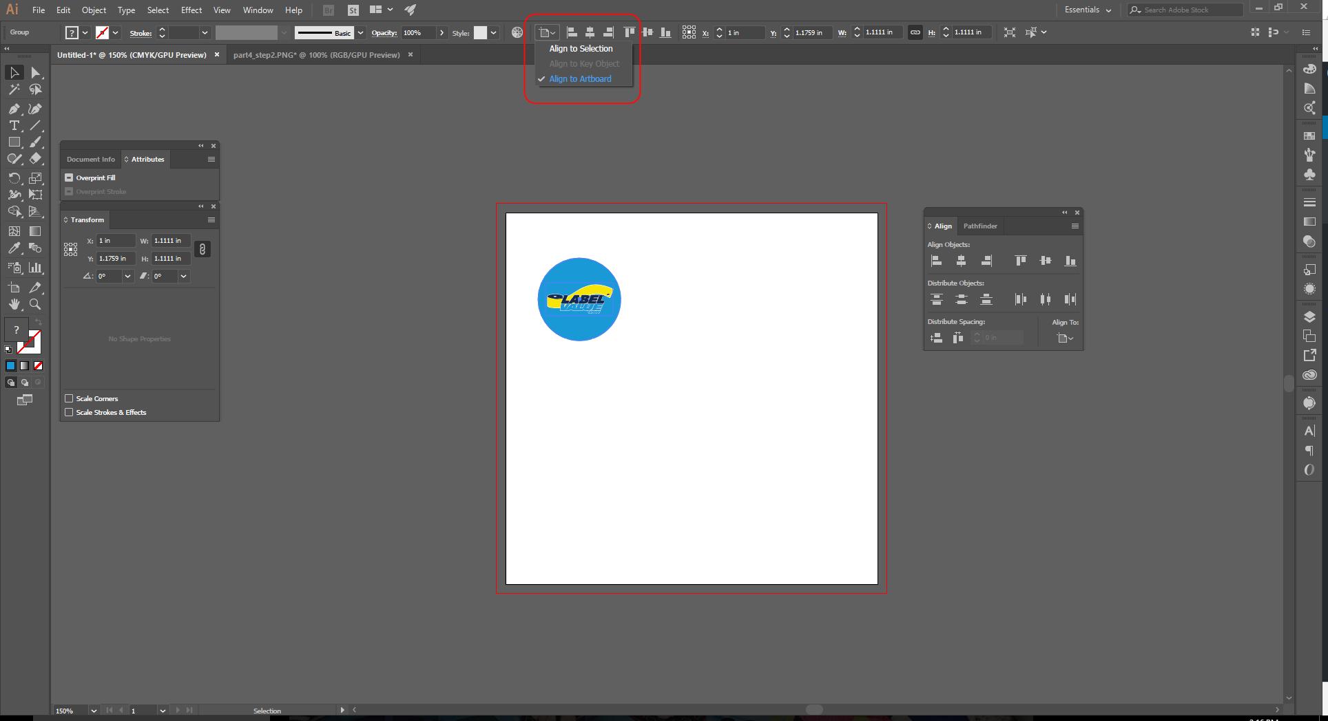 Align Tool Adobe Illustrator Step 3