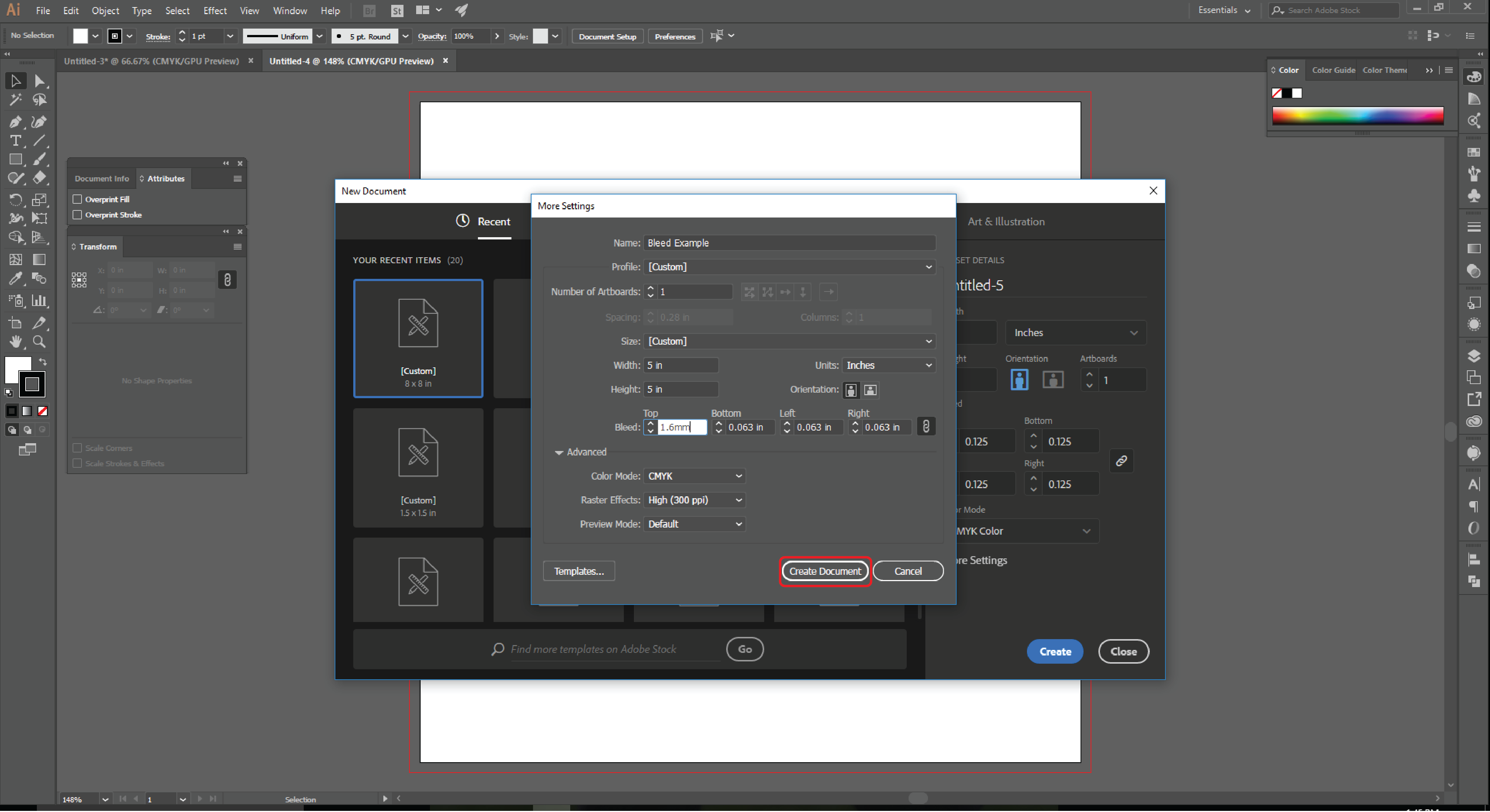 How to Set up Document Bleeds in Adobe Illustrator Step 6