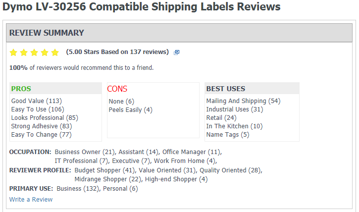 reviews for Dymo Compatible Labels