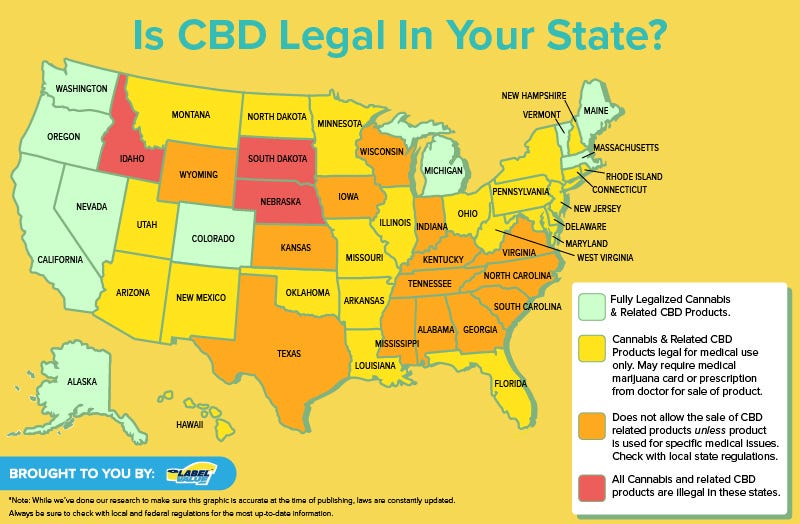 map of where CBD is legal in the United States | CBD Labels