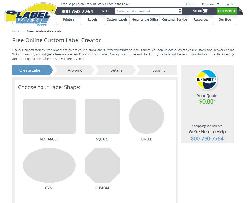 Select your custom label's shape using InstaProof