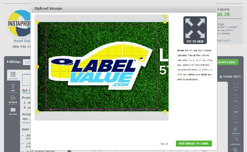 Adjust your label's uploaded artwork using InstaProof