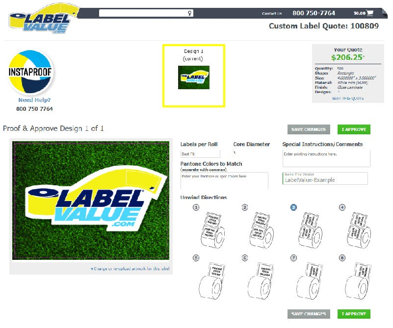 InstaProof - Approve your custom labels and instantly checkout